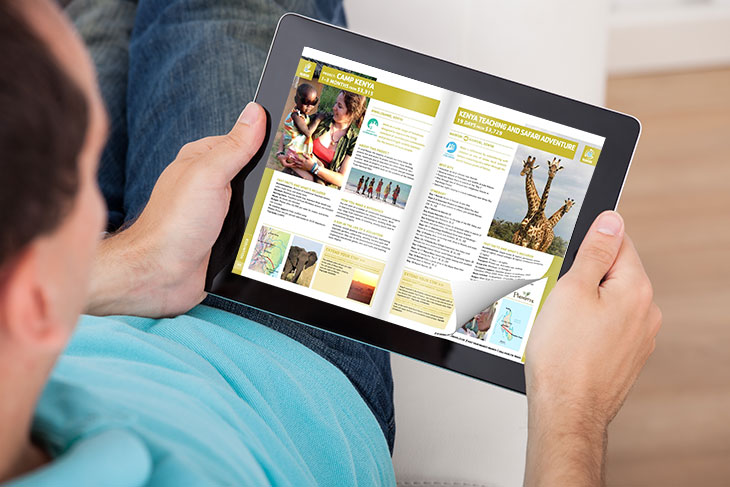 Flip Book template on the tablet with an page flip effect