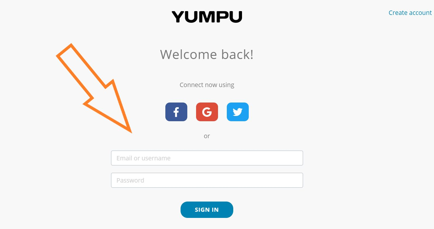 Login procedure on Yumpu Publishing with details of the email address and a password